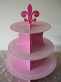 Cupcake Stand - Pink Stripe and Lace